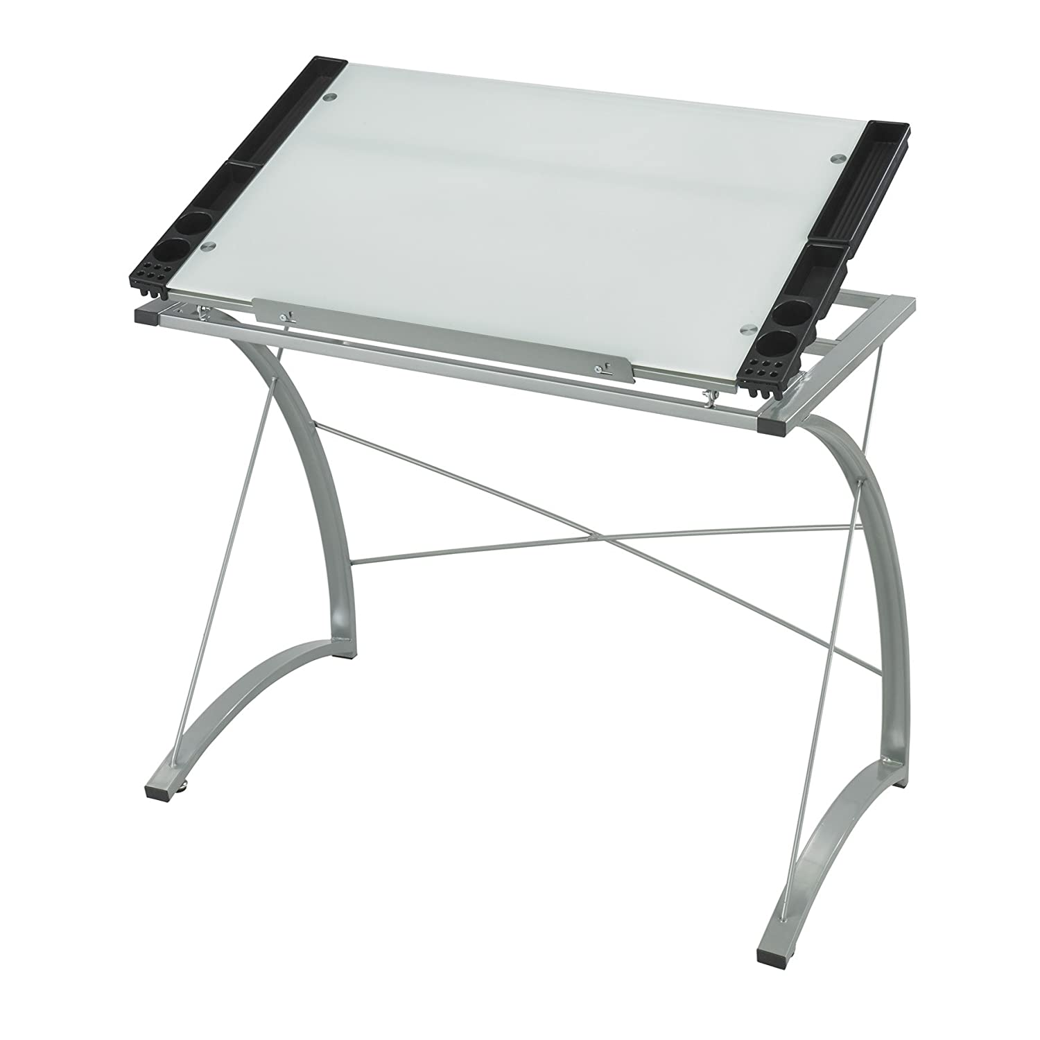 Safco Products 3966TG Xpressions Glass Top Drafting Table - Metallic Gray Frame