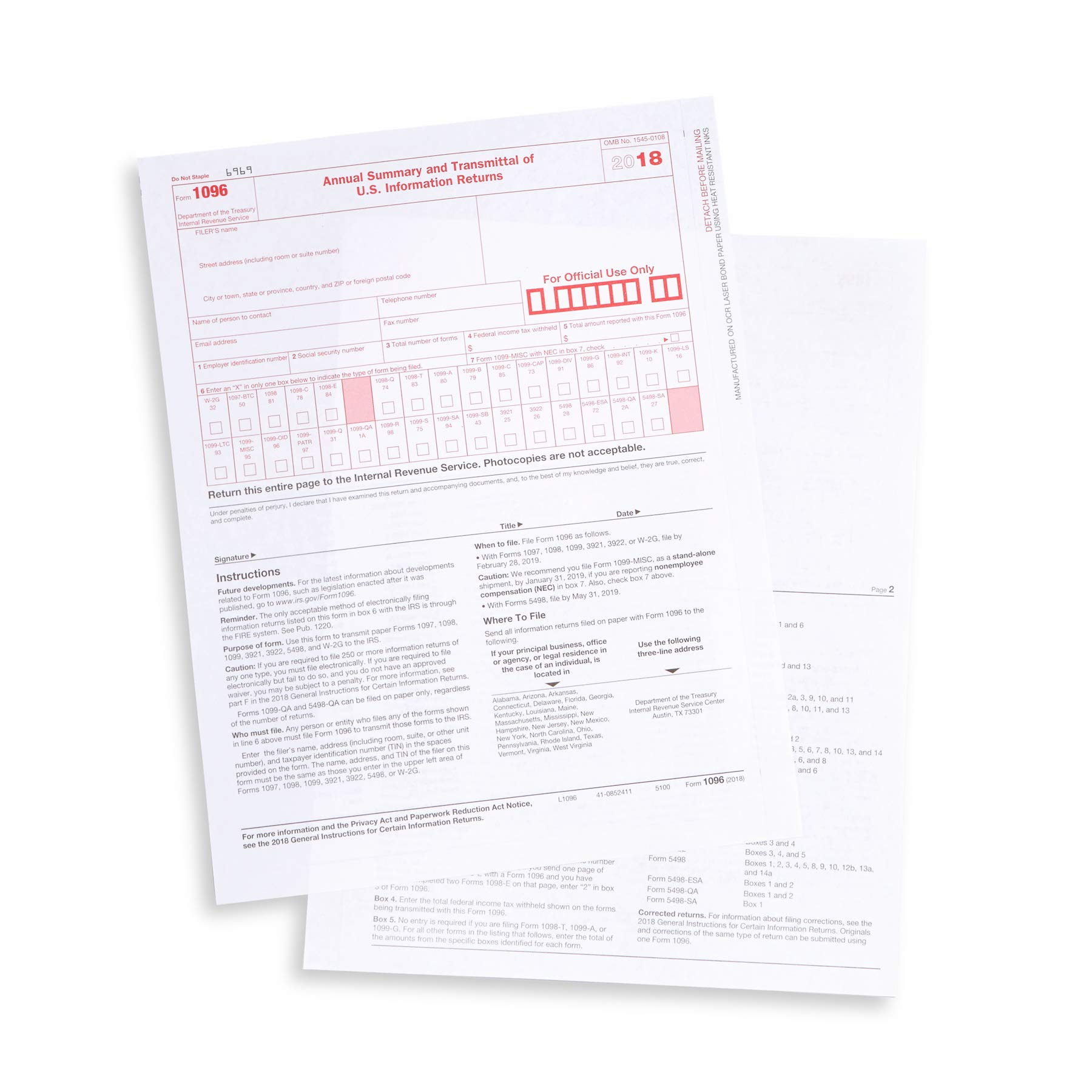 1096 Transmittal 2018 Tax Forms, 25 Pack of 1096 Summary Laser Forms Designed for QuickBooks and Accounting Software