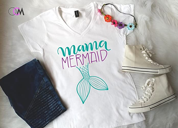 650042cc Amazon.com: Mermama Shirt, Mer Mama Shirt, Mermaid Mom - V-Neck: Handmade