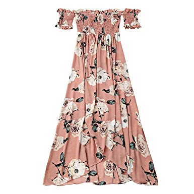 023466f7608 ZAFUL Women Ruffles Off Shoulder Printed Shirred Slit Floral Pink Maxi Dress(Pink  S)
