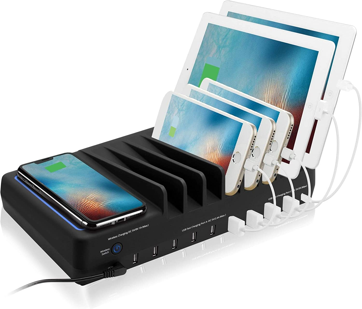 Amazon.com: SIIG 10 Port 90W USB Charging station with Qi wireless and USB  C Charging, Ambient Light Deck compatible with iPhone iPad Samsung Galaxy  Google Nexus