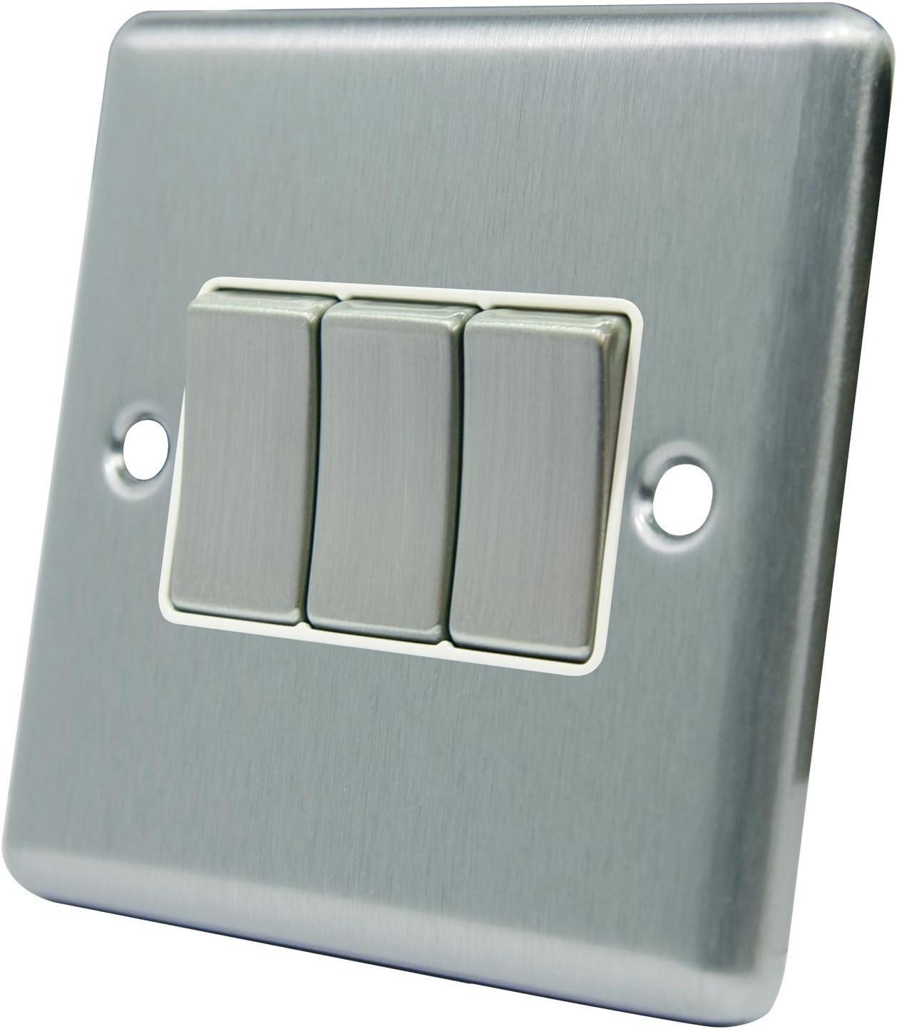 sat/én cromo mate cuadrado inserto blanco Interruptor de la luz de triple banda 3 interruptor basculante de metal A5 Products 10 amperios 3 bandas de 2 v/ías