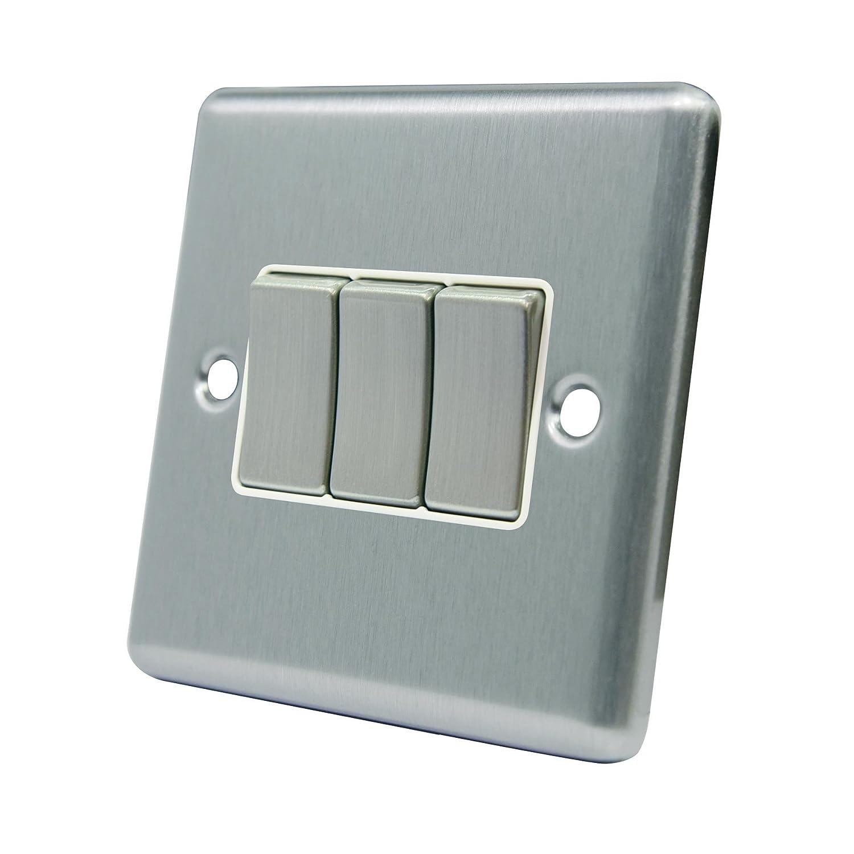 Lichtschalter 3-fach 3-fach, Satin Chrom Matt eckig, weiß, Metall ...
