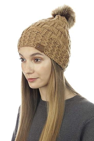 a05c65ecf74 shop CLOIE Womens Girls Winter Black Knitted Faux Fur Beanie - Double Pom  Pom Outdoor Cute