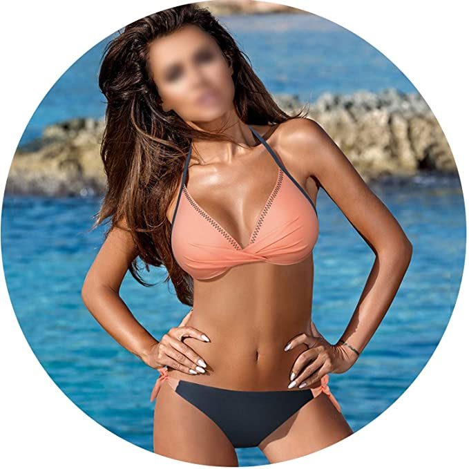 76a93ef181dce Amazon.com: Push Up Bikini 2019 Cross Patchwork Women Swimwear Swimsuit  Halter Top Print Maillot Biquini Bathing Suits,Apricot,XL: Clothing