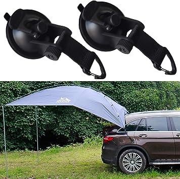 Paquete de 2, fuerte ventosa ancla de seguridad correa gancho atar, lona de camping como toldo lateral de coche, para SUV, MPV, remolque, lágrima, ...