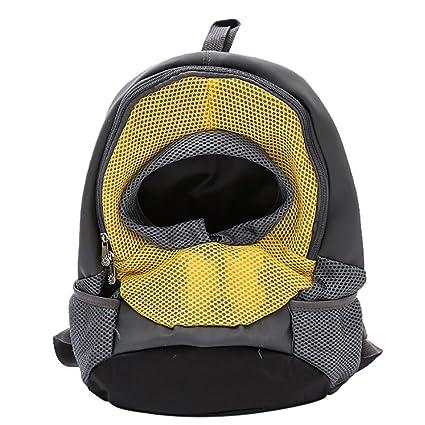 Qiancheng - Mochila portátil para perro con diseño de cabeza fuera, bolsa de malla para cachorros y ...
