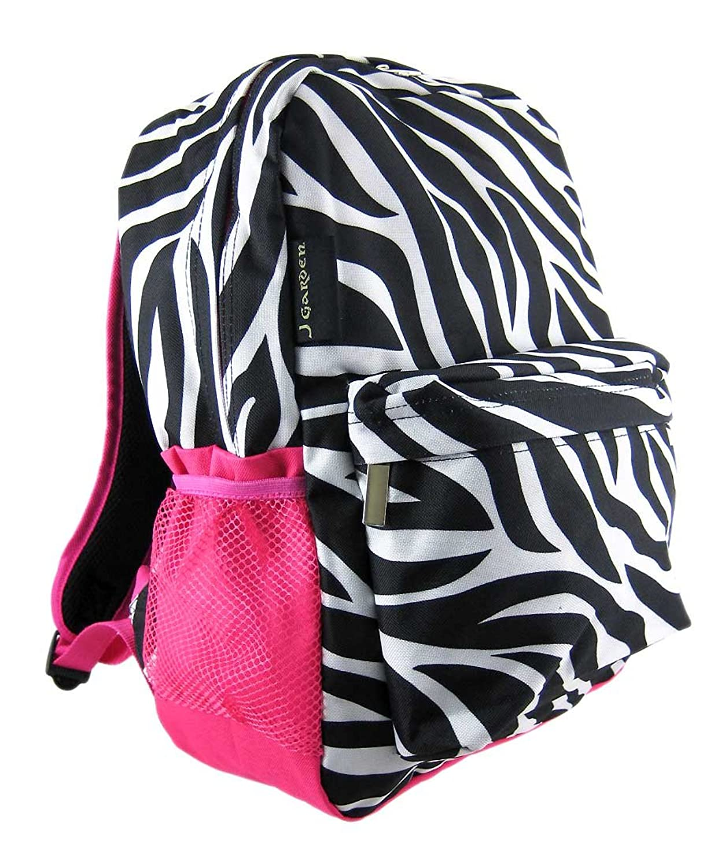 Amazon.com | Zebra Print Backpack w/ Hot Pink Trim Pocket | Kids ...