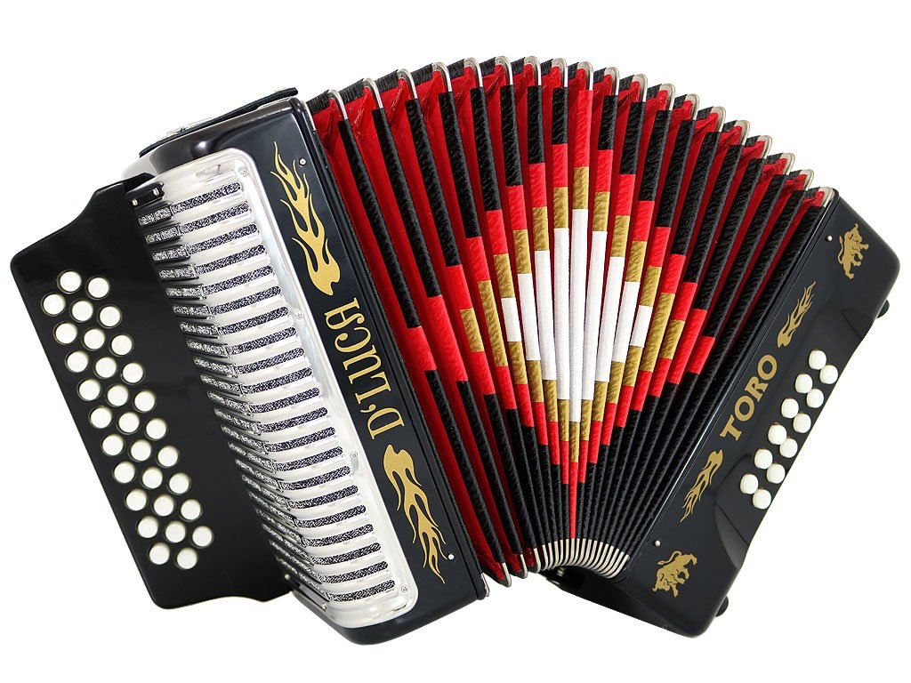 D'Luca Toro Button Accordion 31 12 Bass on FBE Key with Case and Straps, Black (D3112T-FBE-BK)