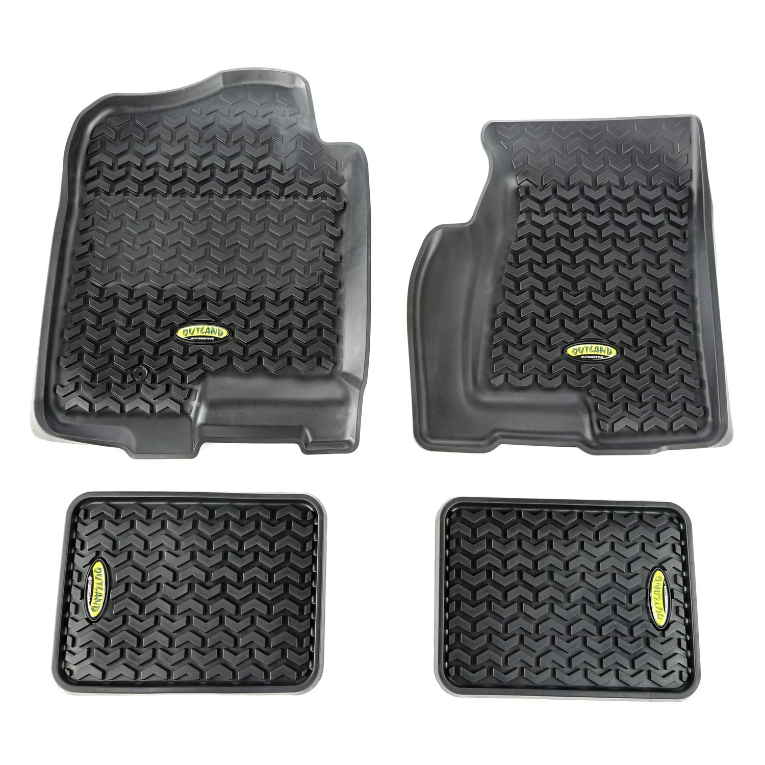 Outland Black Front and Rear Floor Liner Kit For Select Cadillac Escalade Suburban Silverado Tahoe GMC Sierra and Yukon Models Chevrolet Avalanche