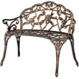 "VINGLI 38.5"" Patio Park Garden Outdoor Metal Rose Bench,Cast Iron Cast Aluminium Frame Antique Finish Chair,Accented…"
