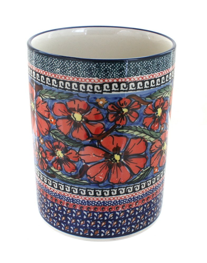 Polish Pottery Jungle Flower Utensil Jar by Blue Rose Pottery
