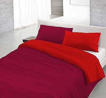 Copripiumino Singolo Rosso.Italian Bed Linen Natural Color Parure Copripiumino Con Sacco E Federa 100 Cotone Rosso Bordeaux Singolo 150 X 200 Cm 2 Unita