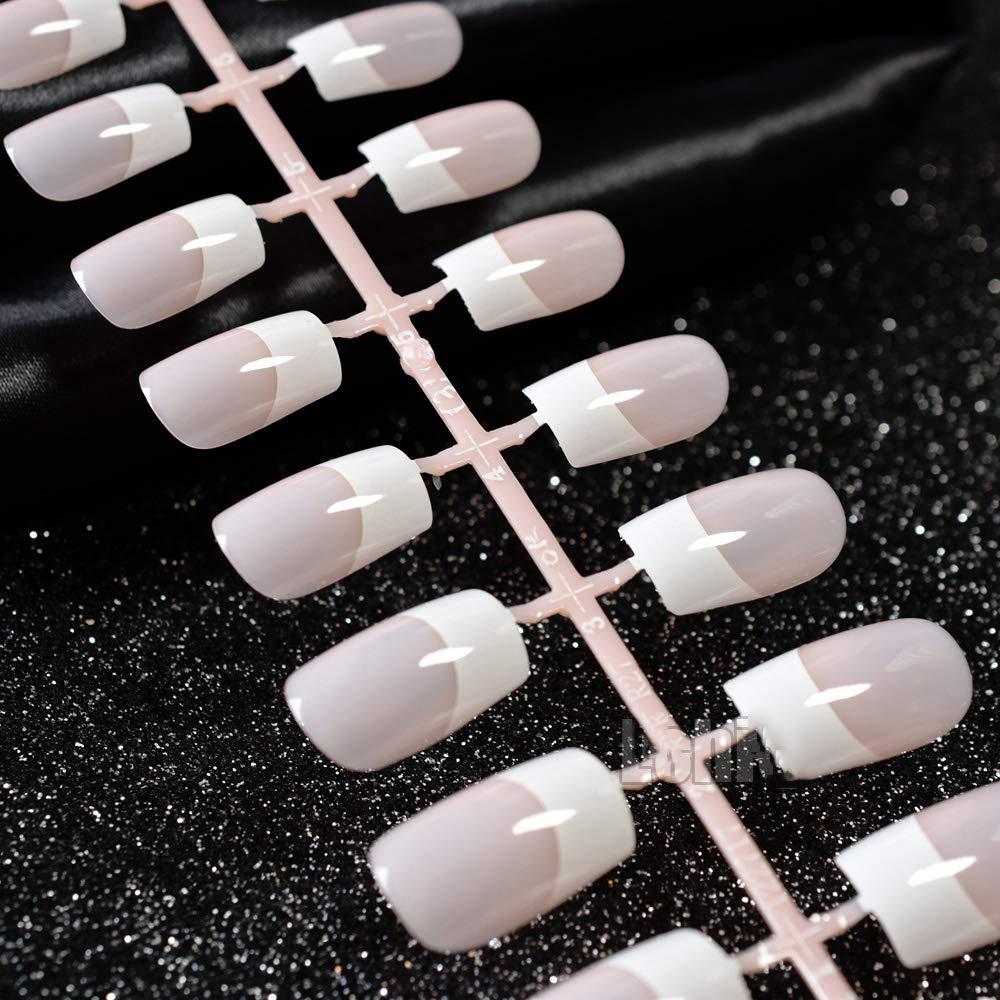 10 Kit 240 Pcs Medium French False Nail Natural Pink Acrylic Fake Nail Tips DIY Nail Art Tips Manicure Tools Z490 by MEI