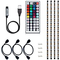 VIPMOON USB TV Backlight, Multi-Color 5050 RGB Flexible LED Strip Light with 44key Remote, Background Bias Lighting for…
