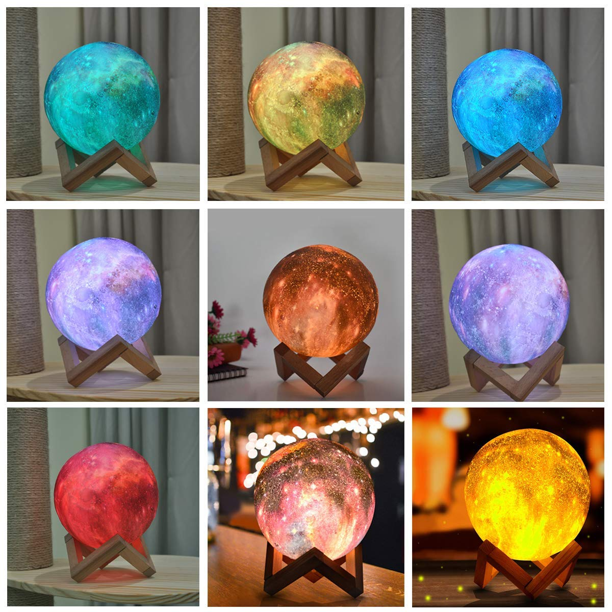 3D Nachtlicht LED Mondlampe Night Desk Moon Lampe Light Durchmesser Touch SL DHL