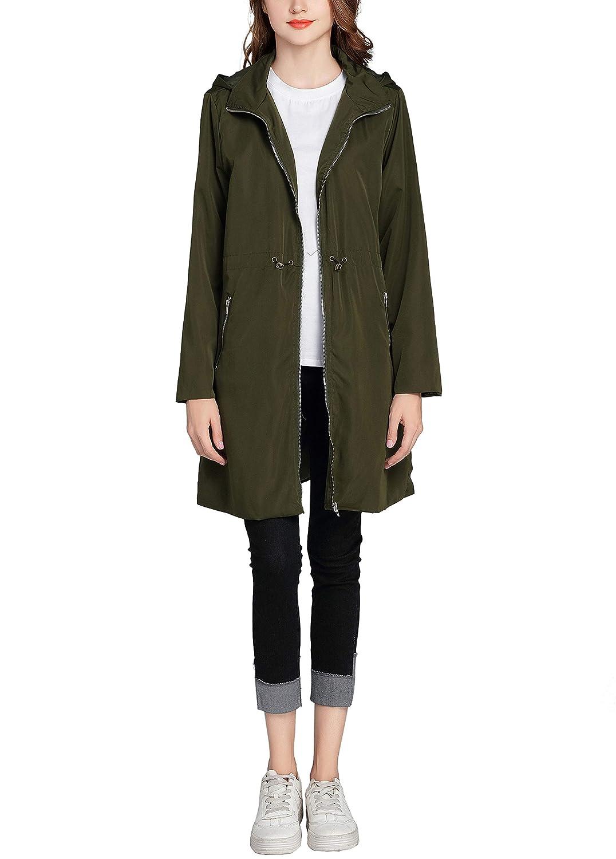 GUANYY Women's Waterproof Raincoat Outdoor Hooded Rain Jacket Casual Long Zipper Lightweight Jackets Coat
