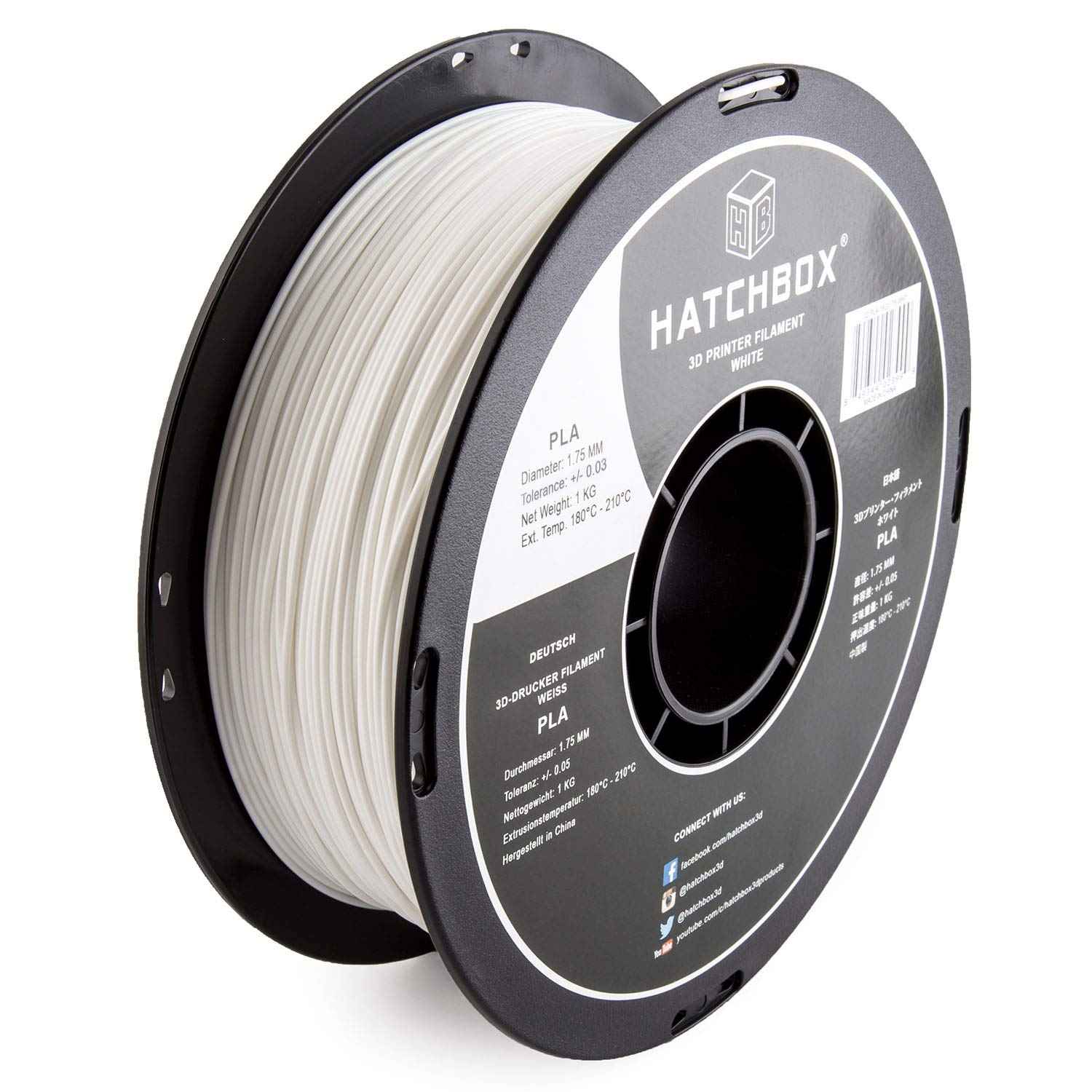 HATCHBOX 1.75mm White PLA 3D Printer Filament - 1kg Spool ...