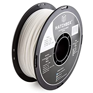 HATCHBOX 1.75mm White PLA 3D Printer Filament - 1kg Spool (2.2 lbs) - Dimensional Accuracy +/- 0.05mm