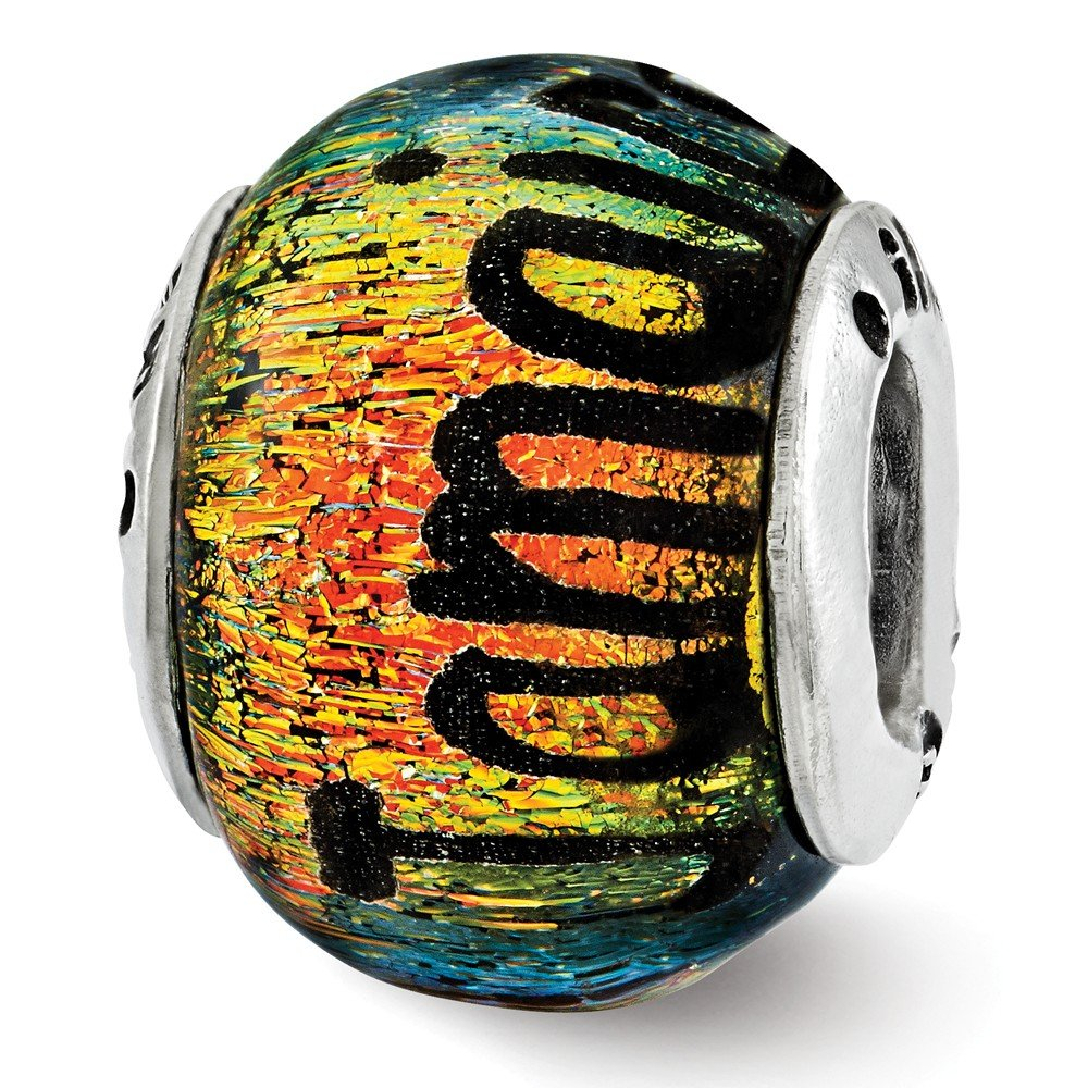 Jewelry Best Seller Sterling Silver Reflections Jamaica Orange Dichroic Glass Bead