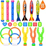 Victostar Diving Toys Set Of 22 Pcs, Swimming Diving Pool Training Toys, Torpedo Bandits Toy Rings Diving Gemstones Diving Ball Streamers Diving Sticks Underwater Games