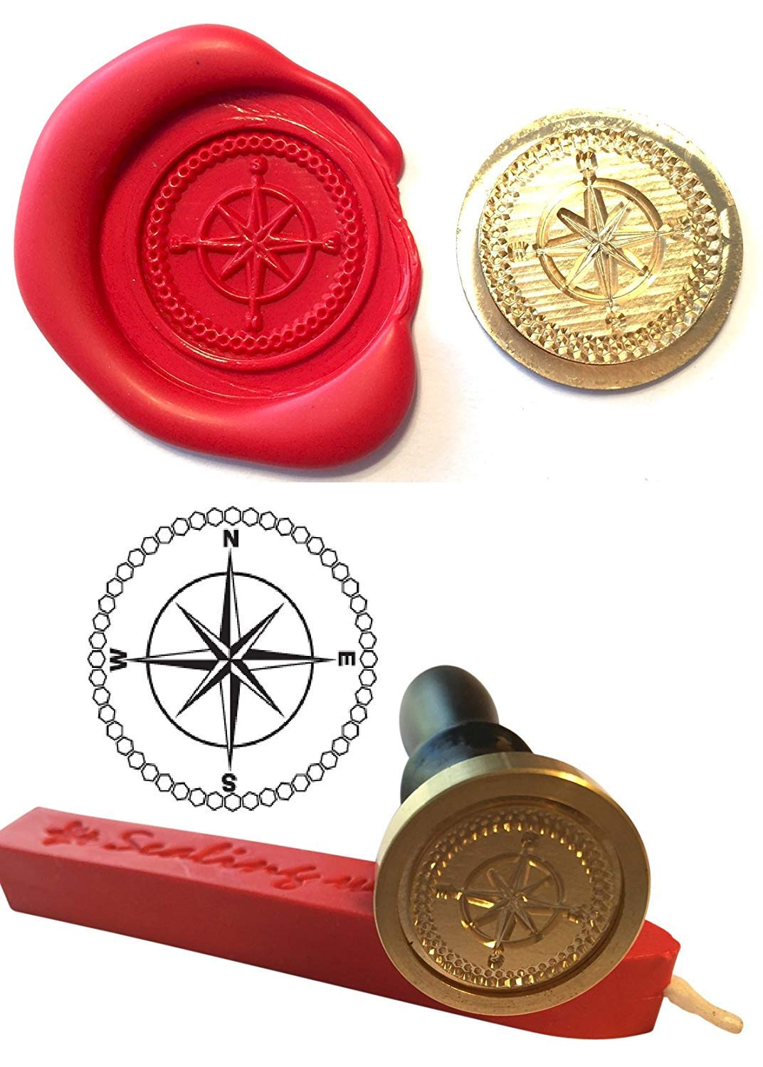 Wax Stamp, COMPASS Nautical Sailing Coin Seal and Red Wax Stick ...