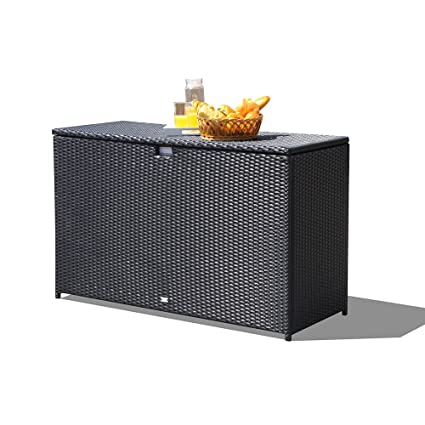 Charmant Orange Casual Patio Aluminum Frame Resin Wicker Storage Bin Deck Box  140 Gal (Black