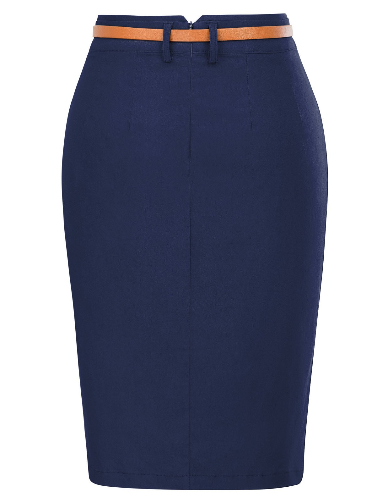 Kate Kasin Women's Casual Midi Bodycon Career Pencil Skirt with Belt Size M Navy Blue