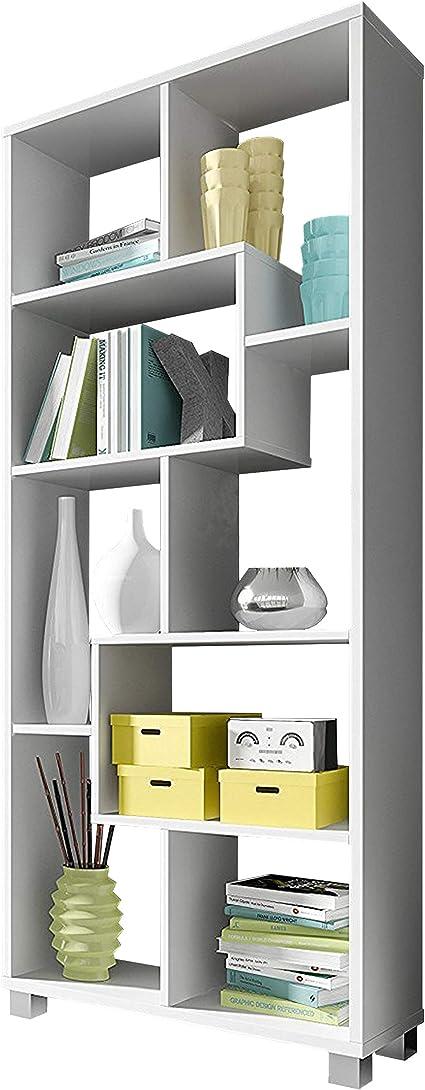 SelectionHome Estantería Multiposición, Librería para Salón o Oficina, Modelo Deluxe, Color Blanco Mate, Medidas: 68,5 cm (Ancho) x 161 cm (Alto) x 25 ...