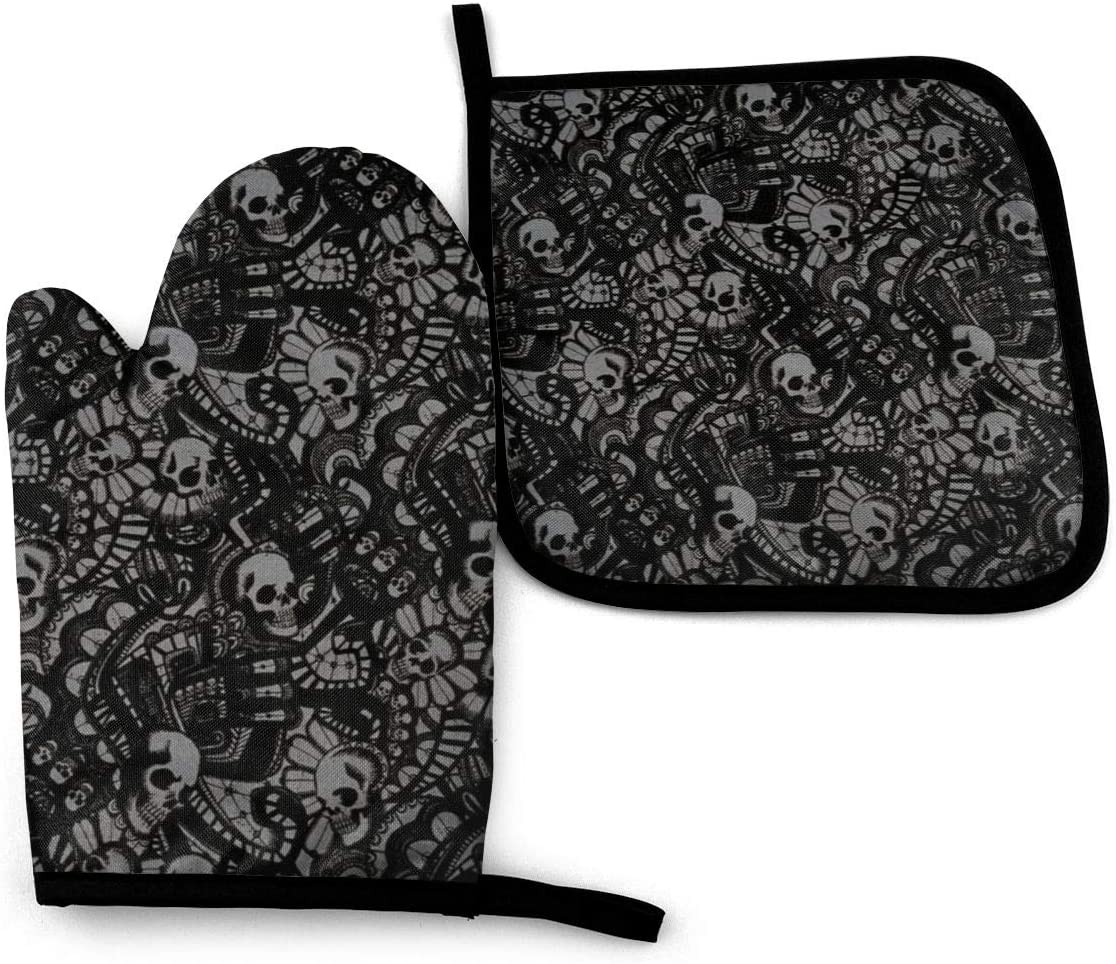 Antvinoler Oven Mitts, Pot Holders for Kitchen, Oven Gloves Heat Resistant Non-Slip Be Used for BBQ Cooking Baking Grilling-Scary Skull Horror