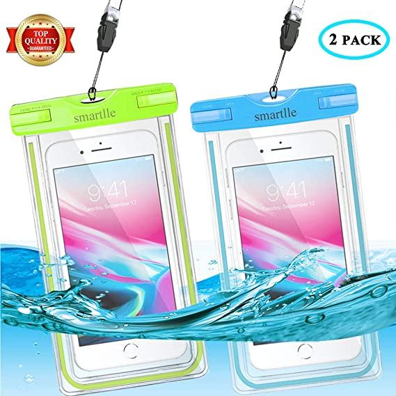 huge discount e8527 fbdd5 Universal Waterproof Phone Pouch, Large Phone Waterproof Case Underwater  Dry Bag for iPhone X, 8, 7, 6 Plus, SE, Galaxy S9+ S8+ S7 S6 with Case,  Soft ...