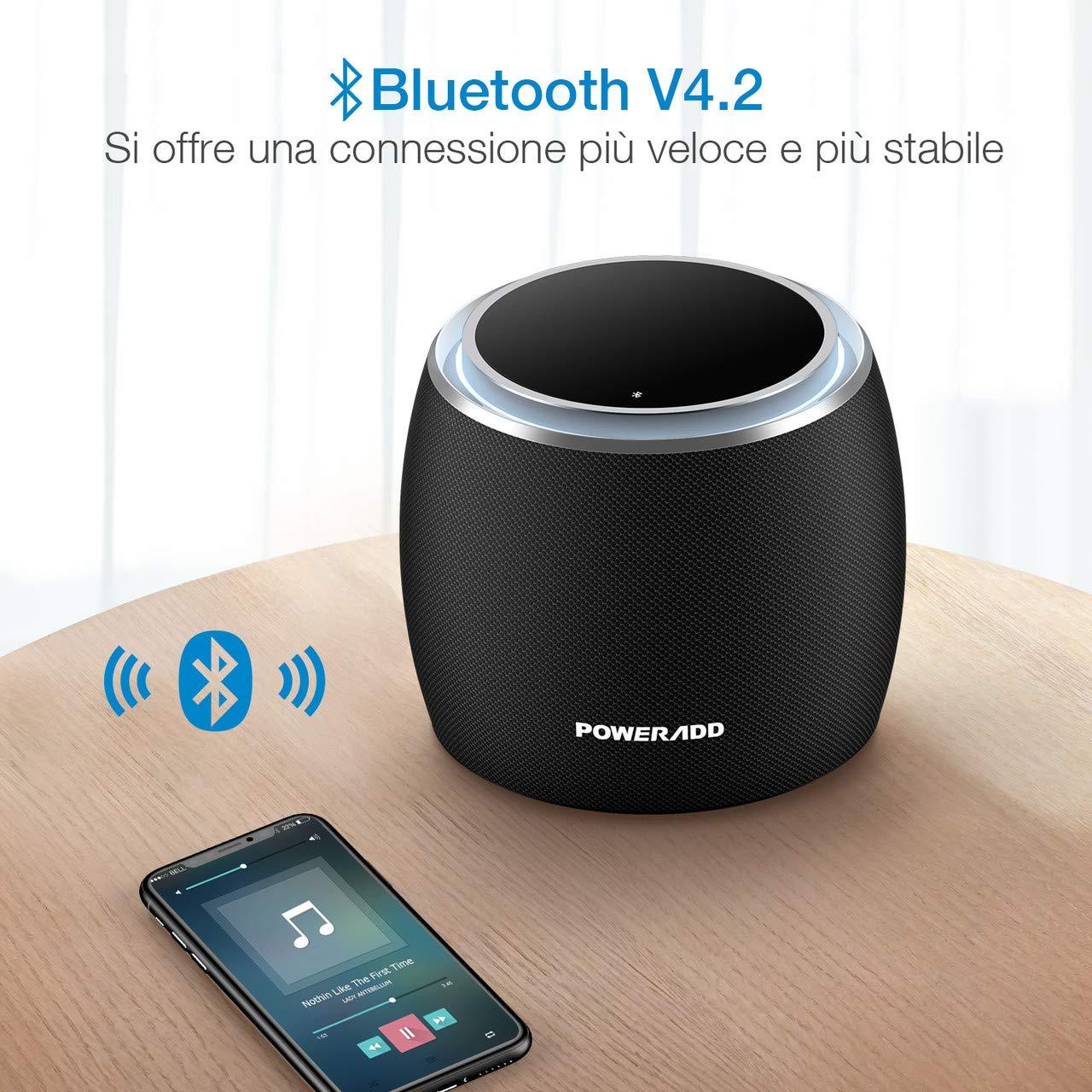 POWERADD Altoparlante Bluetooth, Cassa Bluetooth Dee-G Con Speaker Da 36 Watt e 2 Subwoofer Passivi, Bluetooth 4.2, Compatibile Con iOS, Android