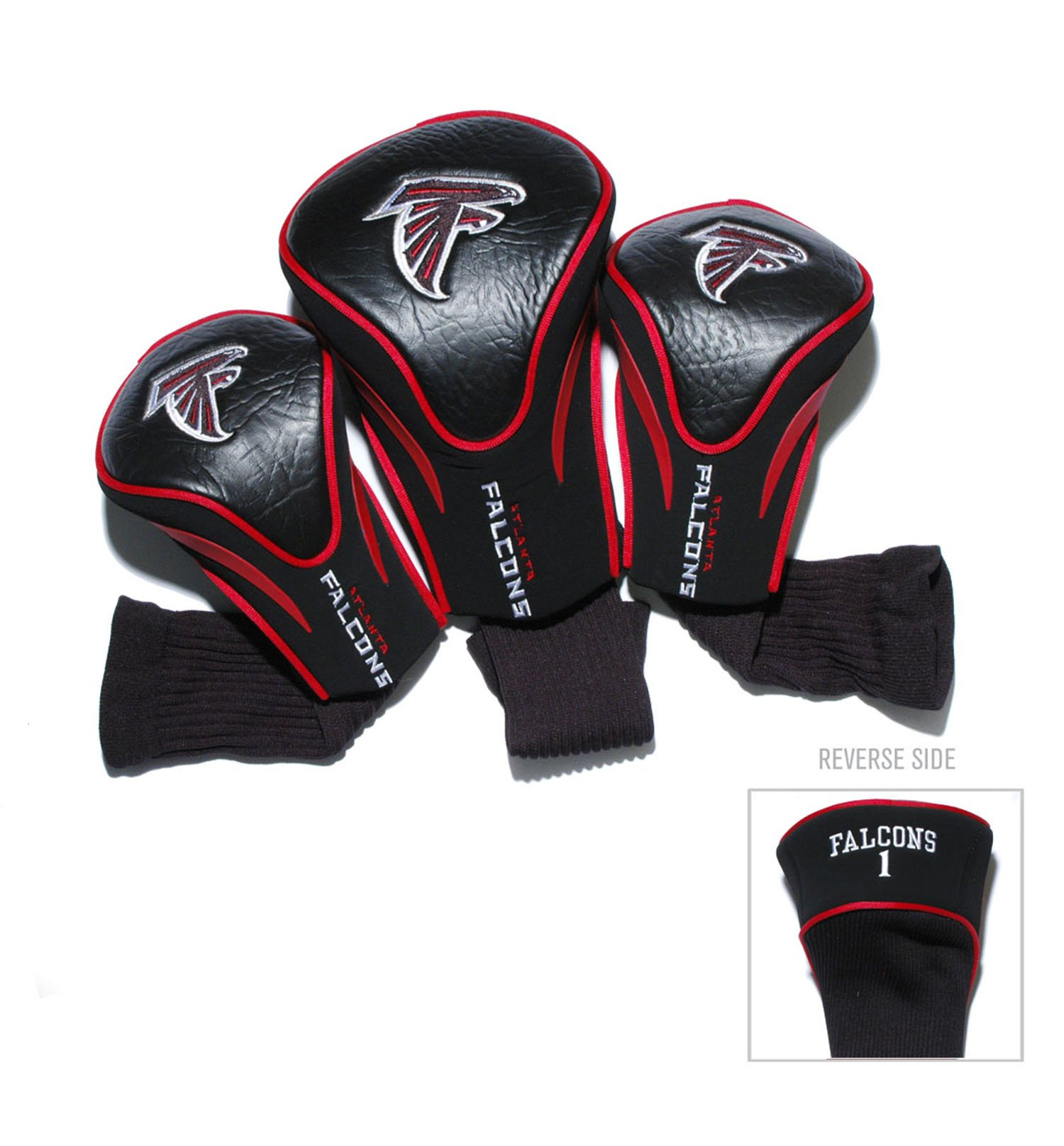 Team Golf NFL Atlanta Falcons Contour Golf Club Headcovers (3 Count), Numbered 1, 3, & X, Fits Oversized Drivers, Utility, Rescue & Fairway Clubs, Velour lined for Extra Club Protection