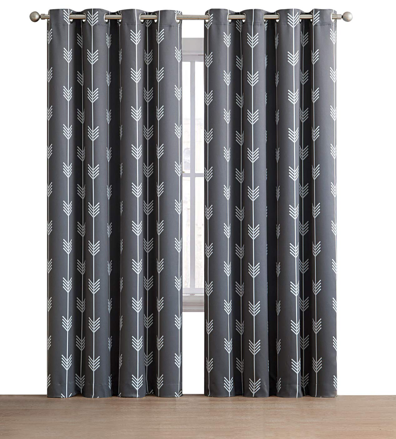 HLC.ME Arrow Printed Blackout Room Darkening Thermal Grommet Window Curtain Drape Panels for Kids Room