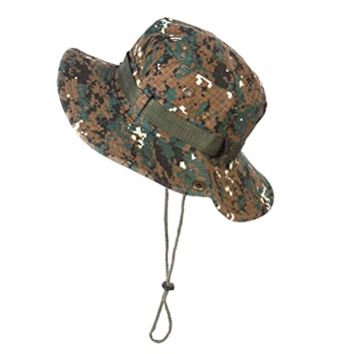 Camo Sun Cap 3D Leaves Camouflage Bucket Hat for Fishing Hunting Sunshade Army