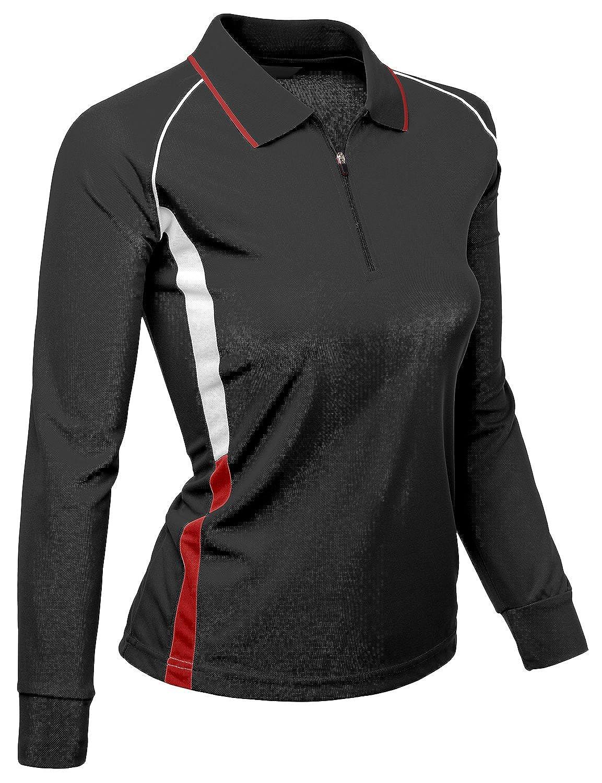 df7fac85 Amazon.com: Xpril Womens Coolon fabric zip up point long sleeve 2 tone Collar  T-Shirt: Clothing