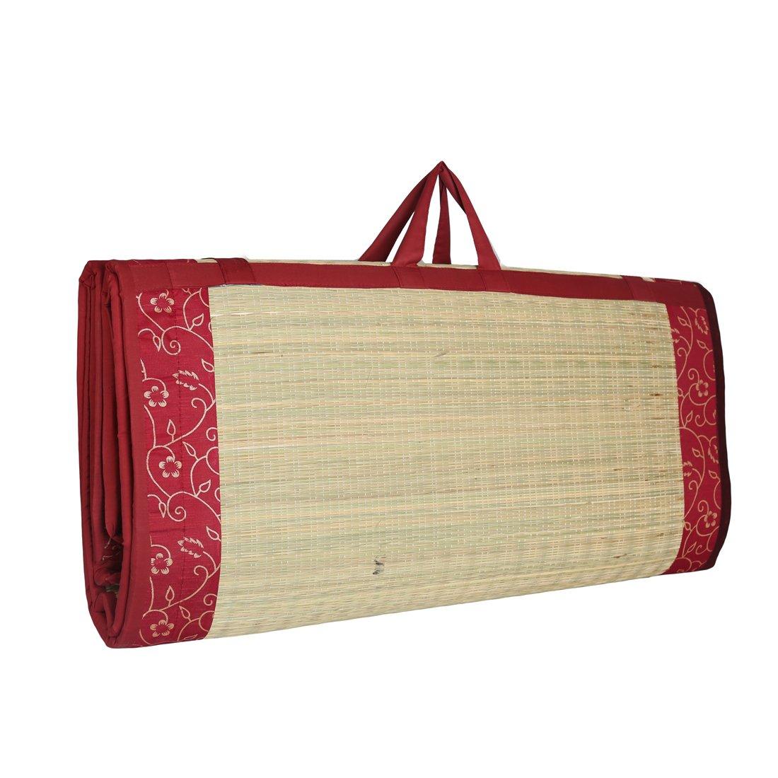 Kala Darshan Crafts Bazaar Cotton Happy Sleeping River Grass 3 Fold Cushion Mat Easy Hand Wash, 6X6ft, Red