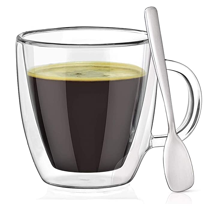Espresso Cups with Espresso Paddles (SET OF 2). Fits ALL Nespresso Machines. 5.4 oz Espresso Glasses. Insulated Double Wall Thermo Mugs by Dewstone
