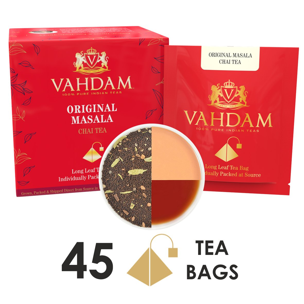 India's Original Masala Chai Tea Bags, 30 TEA BAGS, 100% NATURAL SPICES & NO ADDED FLAVOURING - Blended & Packed in India - Black Tea, Cardamom, Cinnamon, Black Pepper & Clove