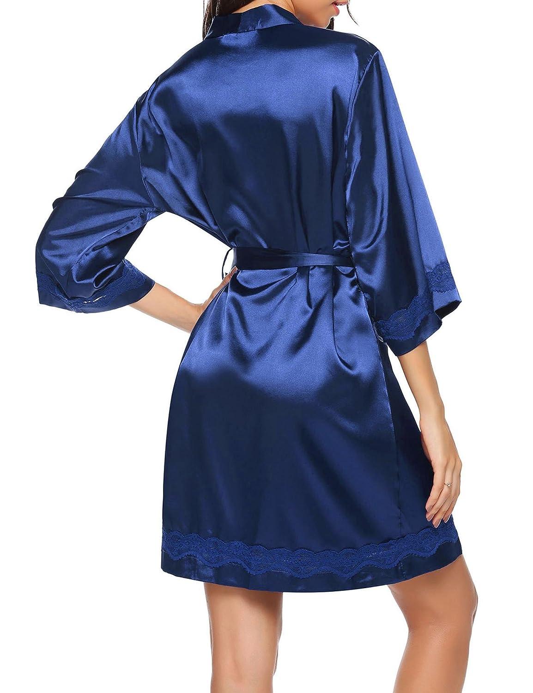 UNibelle Morgenmantel Damen Kurz aus Baumwolle D/ünn 3//4 /Ärmel Bademantel Kimono Saunamantel Robe Negligee Mit V-Ausschnitt