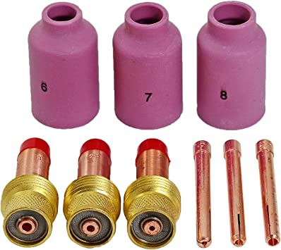 TIG Long Gas Lens Collet Long Alumina Kit Fit WP17 18 26 TIG Welding Torch 19pcs