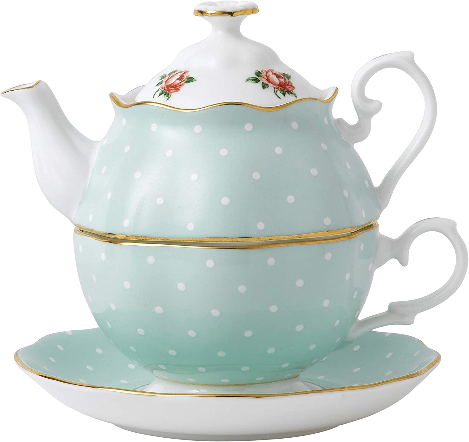 Amazon Com Royal Albert Rose Tea For One Mostly Green With Polka Dots Multicolored Floral Print Royal Albert Polka Rose Cake Stands