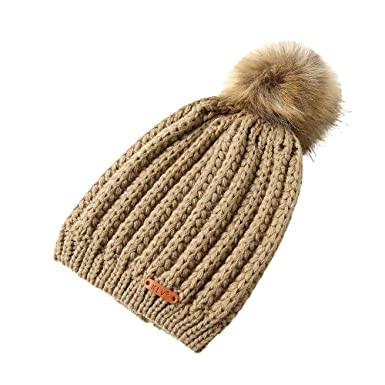 60b89581c7c Hevoiok Women Beanie Hat Casual Fashion Pretty Ladies Pure Color Winter  Knit Warm Soft Caps with