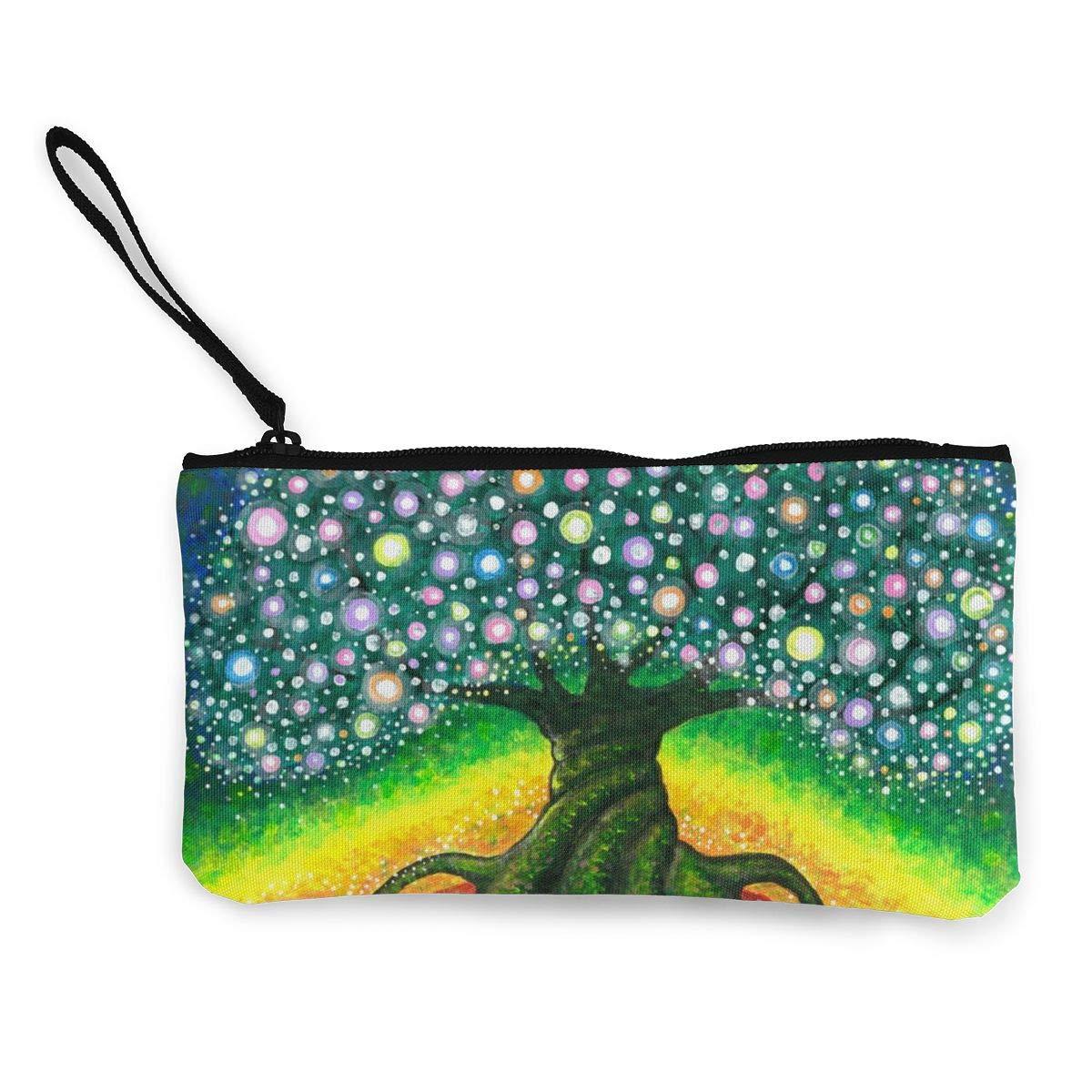 Coin Purse Tree of Life Art Mens Zipper Canvas Small Purse TravelDesigner Holder