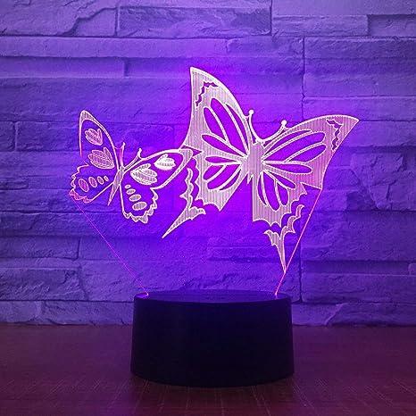 3D Illusion Mariposa Lámpara luces de la noche ajustable 7 colores LED Creative Interruptor táctil estéreo