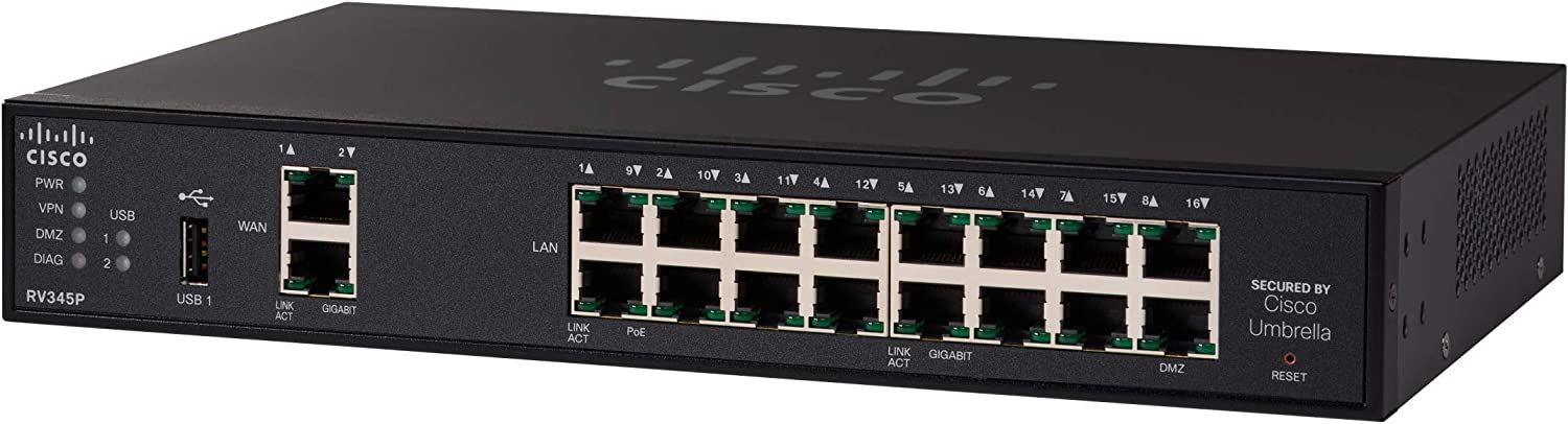 Cisco RV345P VPN Router with 16 Gigabit Ethernet (GbE) Ports with PoE plus Dual WAN, Limited Lifetime Protection (RV345P-K9-NA)