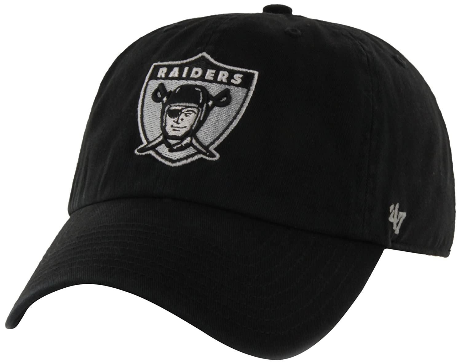 buy online e09a1 76c35 Amazon.com   NFL Oakland Raiders  47 Brand Clean Up Adjustable Hat (1963  Logo), Black, One Size   Sports   Outdoors