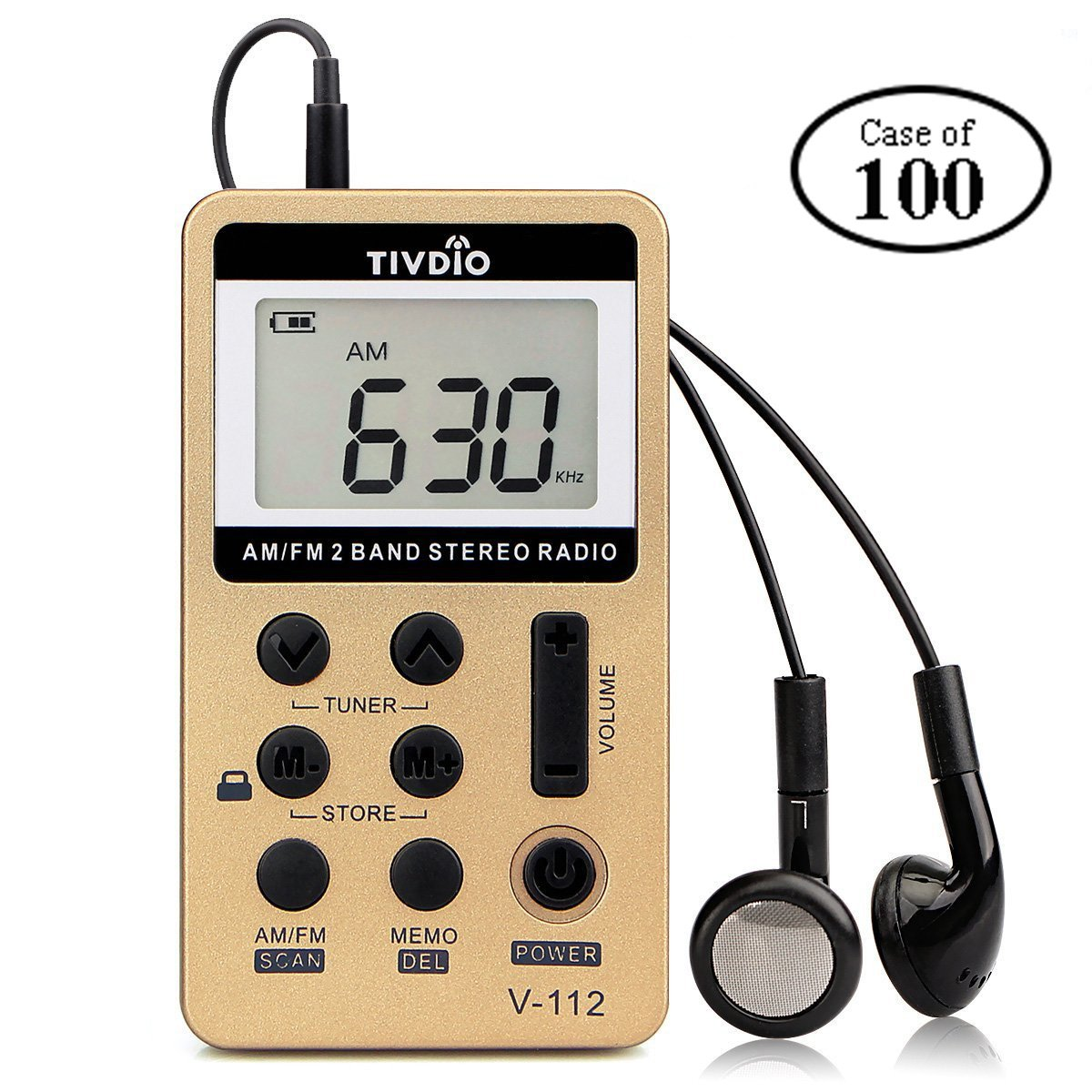 Case of 100,TIVDIO V-112 Portable AM FM Stereo Radio with Earphones Pocket Mini Digital Tuning Rechargeable Battery LCD Display for Walk(Gold)