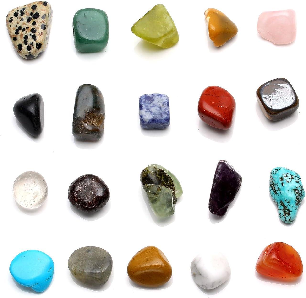 Jovivi Juego de Piedra Natural Piedra curativas Chakra Juego de 20x Diferentes Piedras Preciosas Piedras de Carga Forma los Natural Gemstones getrommelt 0.4–0.9Pulgadas