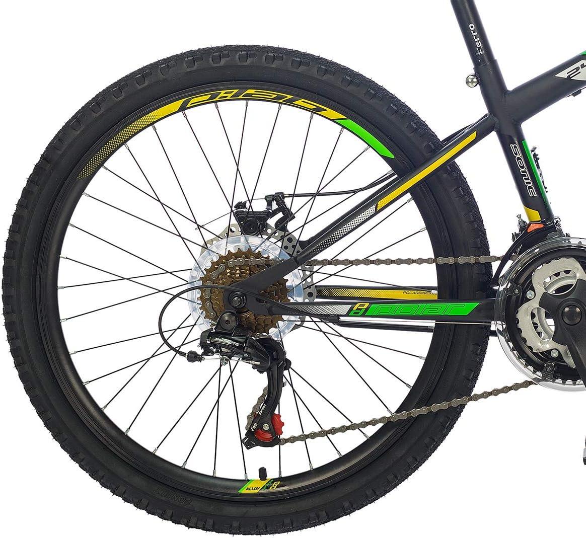 breluxx/® 24 Zoll Kinderfahrrad Mountainbike D2 Hardtail Sonic schwarz 18 Gang